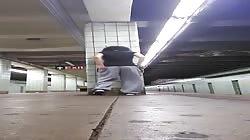 Ebony dared to masturbate @ New York Subway