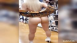Hot girl with amazing tits naked in store