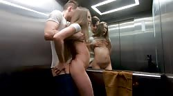 Risky sex in the public elevator. Rough sex, blowjob and facial. Twice!